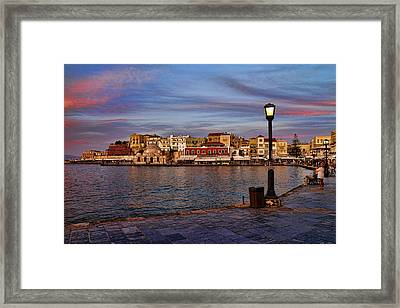 Old Town Harbour In Chania Crete Framed Print