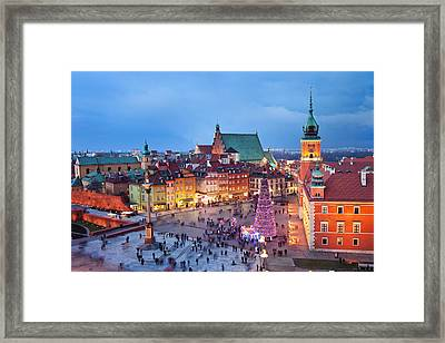 Old Town In Warsaw At Night Framed Print