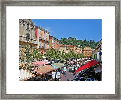 Old Town Market In Nice Framed Print