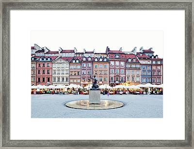 Old Town Market Place At Dusk Framed Print by Jorg Greuel