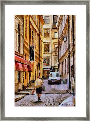 Framed Print featuring the digital art Old Town Of Stockholm by Kai Saarto