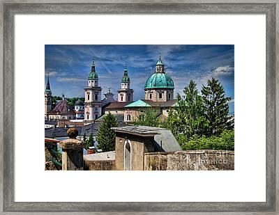 Old Town Salzburg Austria In Hdr Framed Print by Sabine Jacobs