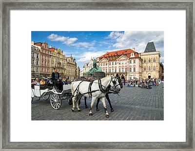 Old Town Square And Horse-drawn Carriage In Beautiful Prague Framed Print