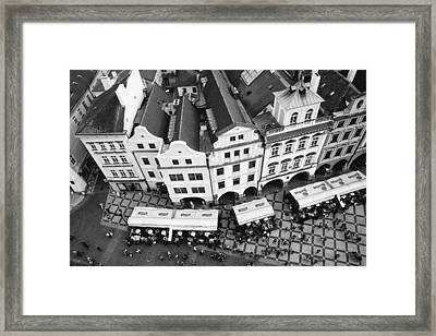 Old Town Square In Prague In Black And White Framed Print