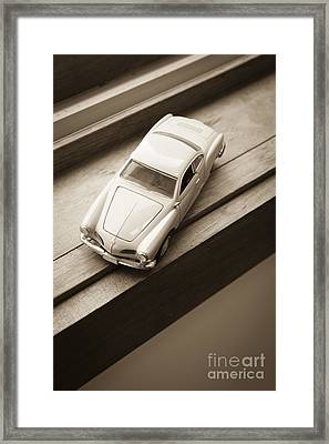 Old Toy Car On The Window Sill Framed Print