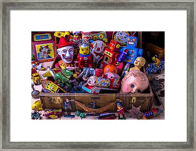 Old Toys In Suitcase Framed Print