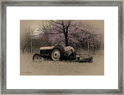 Old Tractor And Redbuds Sepia Framed Print