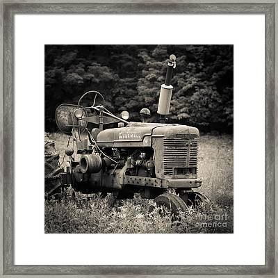 Old Tractor Black And White Square Framed Print by Edward Fielding