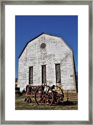 Old Tractor In Front Of Hay Barn Framed Print by Bill Cannon