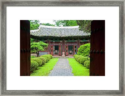Old Traditional Temple In Kaesong Framed Print by Michael Runkel