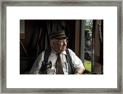 Old Train Conductor Framed Print by Randall Nyhof