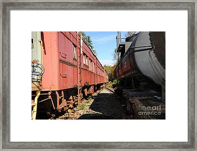 Old Train Wagons At Ease Framed Print by Malu Couttolenc