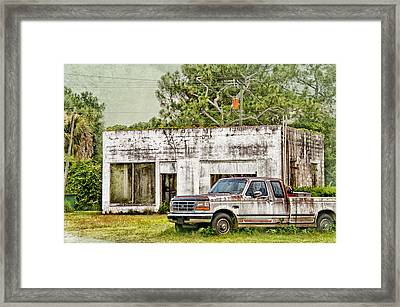 Old Truck And Old Gas Station Framed Print by Louise Hill