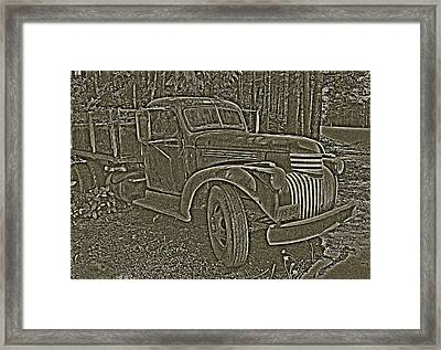 Framed Print featuring the photograph Old Truck In Sepia by Betty Depee
