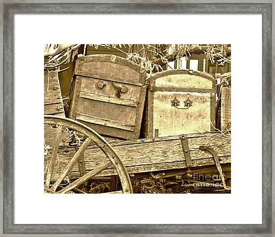 Old Trunks In Genoa Nevada Framed Print by Artist and Photographer Laura Wrede