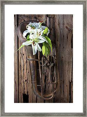 Old Tuba And White Lilies Framed Print by Garry Gay