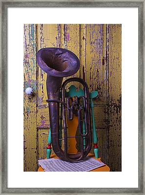 Old Tuba And Yellow Door Framed Print
