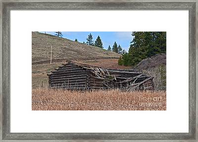 Old Turn Of The Century Log Cabin Homestead Art Prints Framed Print by Valerie Garner
