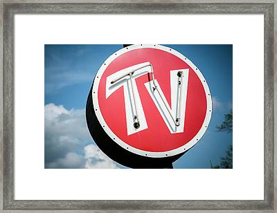 Old Tv Sign, Mitchell, Illinois, Usa Framed Print by Julien Mcroberts
