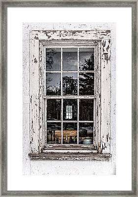 Old Twelve Pane Window With Antique Bottles Framed Print by Edward Fielding
