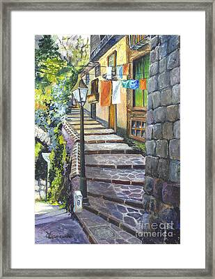 Old Village Stairs - In Tuscany Italy Framed Print