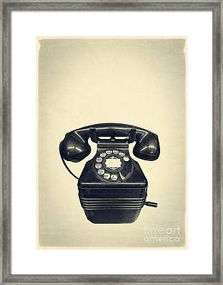 Old Vintage Telephone Framed Print by Edward Fielding