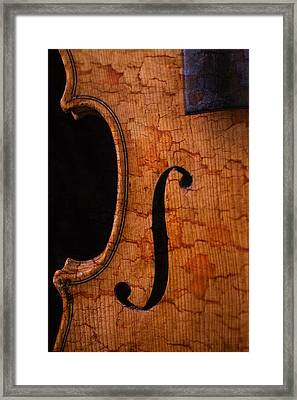 Old Violin Close Up Framed Print by Garry Gay