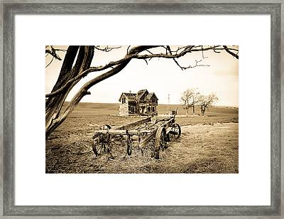 Old Wagon And Homestead II Framed Print by Athena Mckinzie
