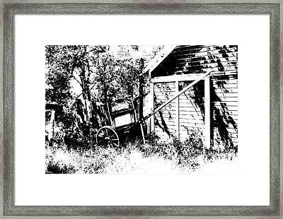 Old Wagon And Shed Framed Print by Donald  Erickson