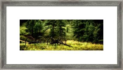 Old Wagon Frame In The Black Hills Framed Print