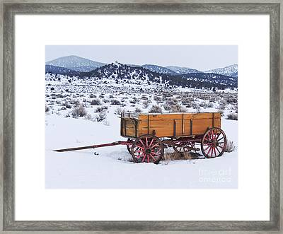 Old Wagon In Snow Framed Print