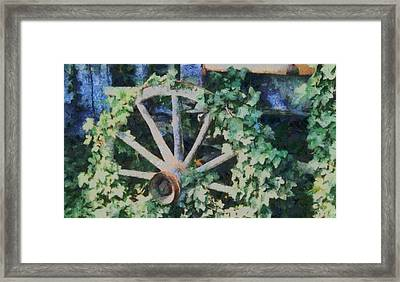 Old Wagon Wheel Framed Print by Dan Sproul