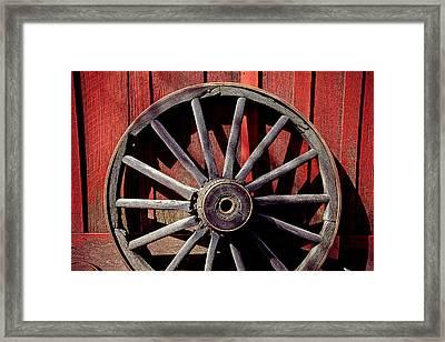 Old Wagon Wheel Framed Print by Garry Gay