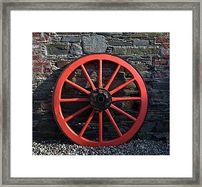 Old Wagon Wheel In Ireland Framed Print by Panoramic Images