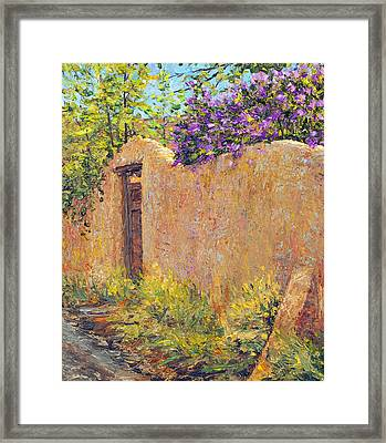 Old Wall And Lilacs Framed Print
