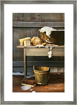 Old Wash Tub With Soap And Scrub Brushes Framed Print by Sandra Cunningham