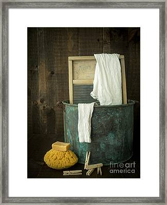 Old Washboard Laundry Days Framed Print by Edward Fielding