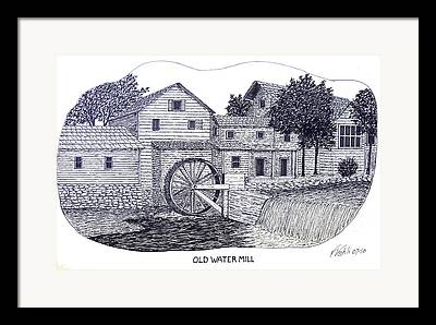 Old Water Mill Pen And Ink Drawing Framed Prints