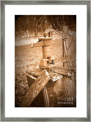 Old Water Pump Sepia Framed Print