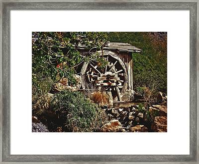 Framed Print featuring the photograph Old Water Wheel by Elaine Malott