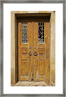 Old Weathered Brown Wood Door Of Portugal Framed Print by David Letts