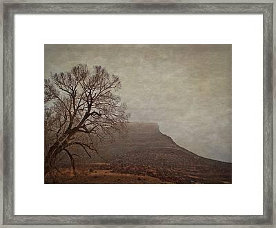 Old West Landscape Fog On The Mesa Framed Print by Julie Magers Soulen