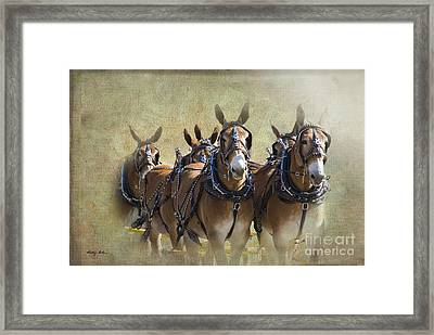 Old West Mule Train Framed Print by Betty LaRue