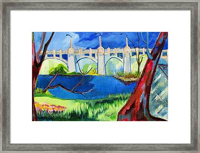 Old Western Gateway Bridge Schenectady To Scotia Framed Print by Betty Pieper