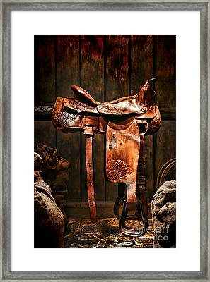 Old Western Saddle Framed Print