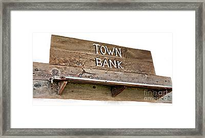 Old Western Town Bank Sign  Framed Print