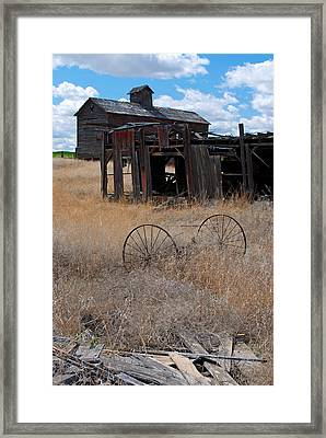 Framed Print featuring the photograph Old Wheels And Barn by Kjirsten Collier