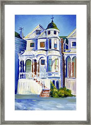 Framed Print featuring the painting Old White Victorian In Oakland California by Asha Carolyn Young
