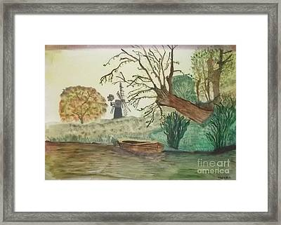 Old Willow And Boat Framed Print