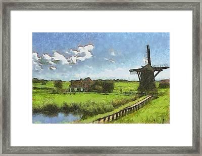 Old Windmill Framed Print by Ayse Deniz